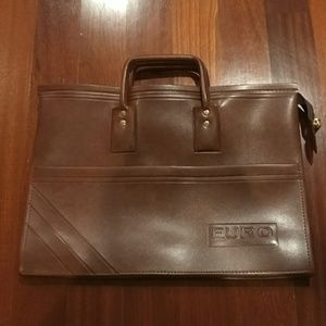 Minimalist brown vegan leather structured bag nwot